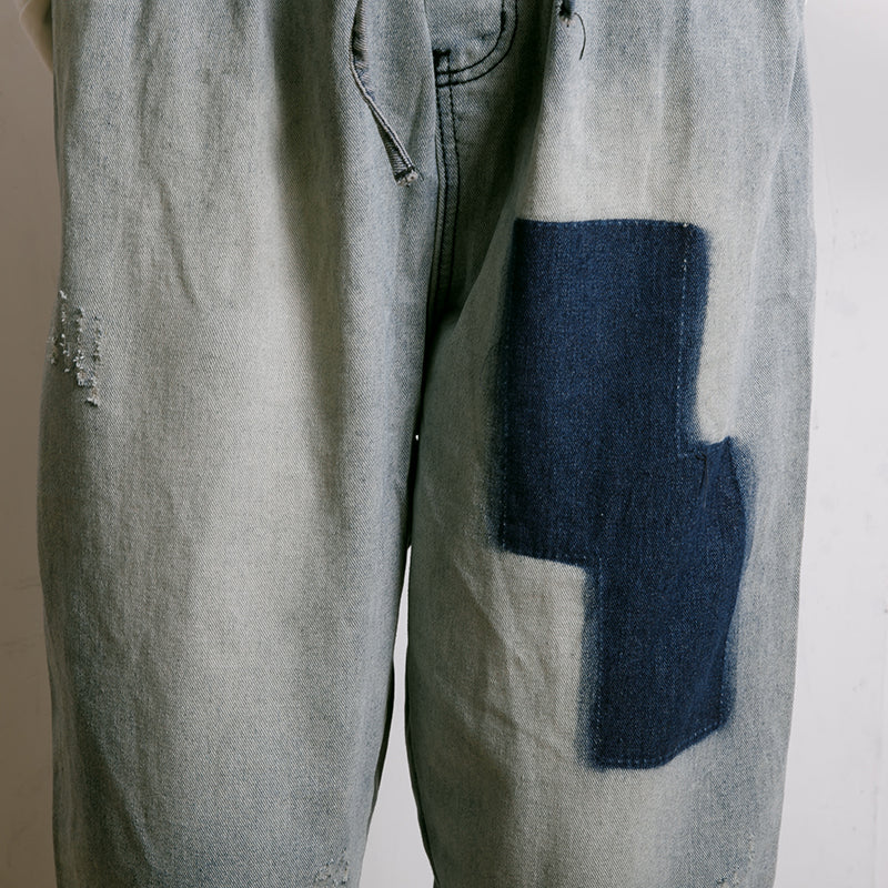 Frayed Solid Color Drawstring Casual Jeans