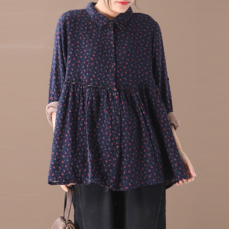 Frill Splicing Retro Floral Loose Cotton Blouse