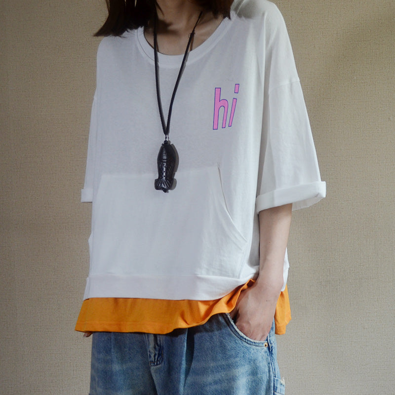 Front Pocket Letter Printed Casual T-Shirt