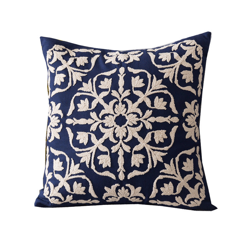 Geometric Embroidery Linen Sofa Cushion Cover