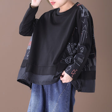 Geometric Print Casual Splicing Loose Blouse