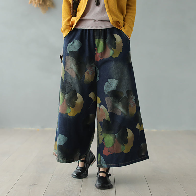 Ginkgo Leaf Printed Loose Wide Leg Jeans