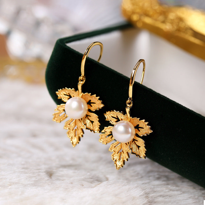 Gold Plated Maple Leaf Pearl Silver Earrings