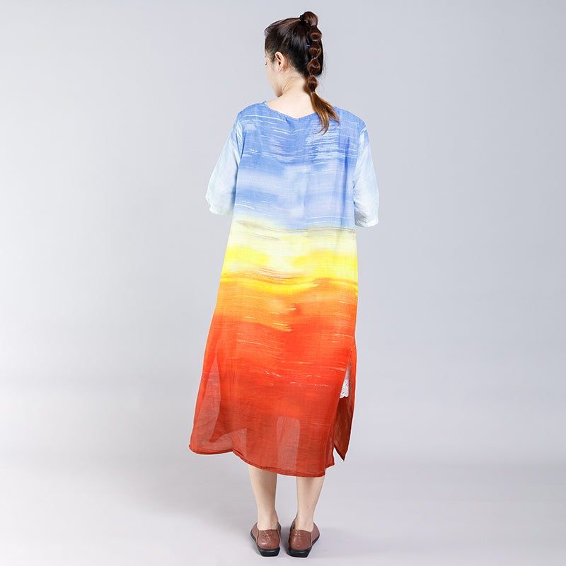 Gradient Color Split Elegant Casual Midi Dress