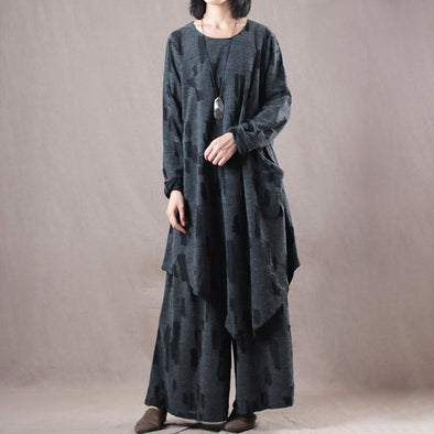 Gray Polyester Women Autumn Loose Two-piece Set