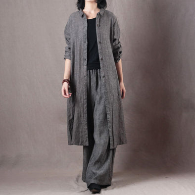 Gray Set For Women OL Style Linen Two Pieces Set