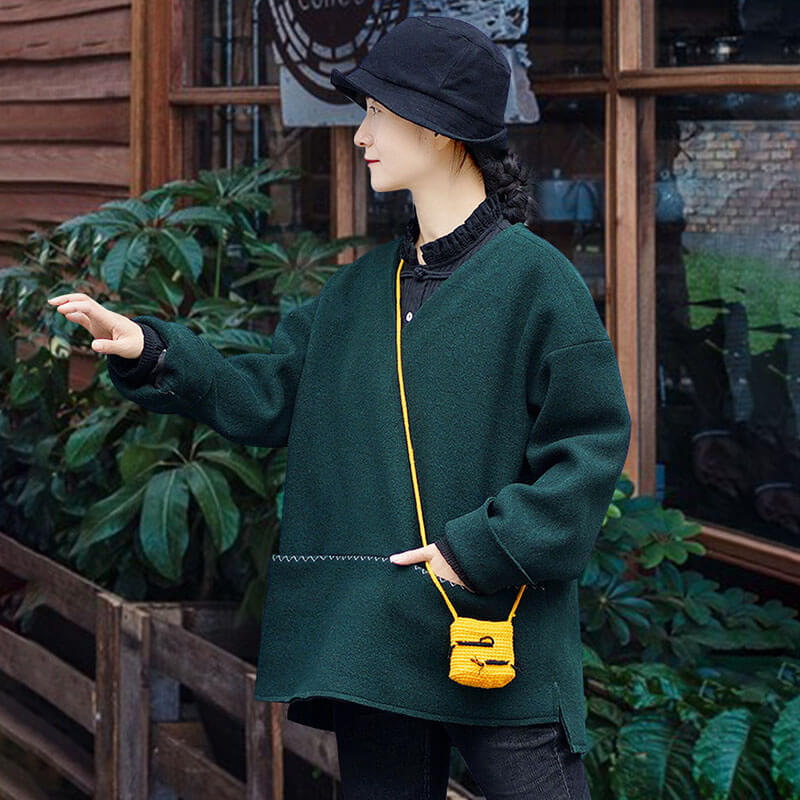 Green V-neck Pocket Warm Sweatshirt