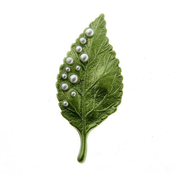 Green Breastpin Leaf Delicate Alooy Brooch