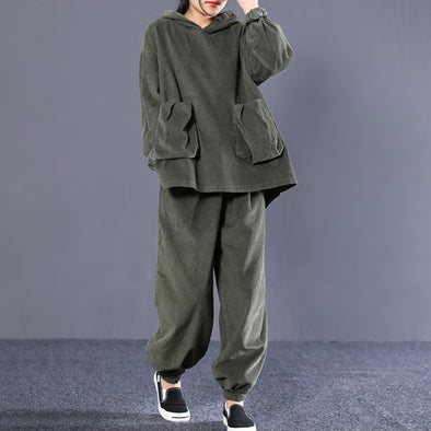 Green Corduroy  Fashion Casual Two Pieces Set