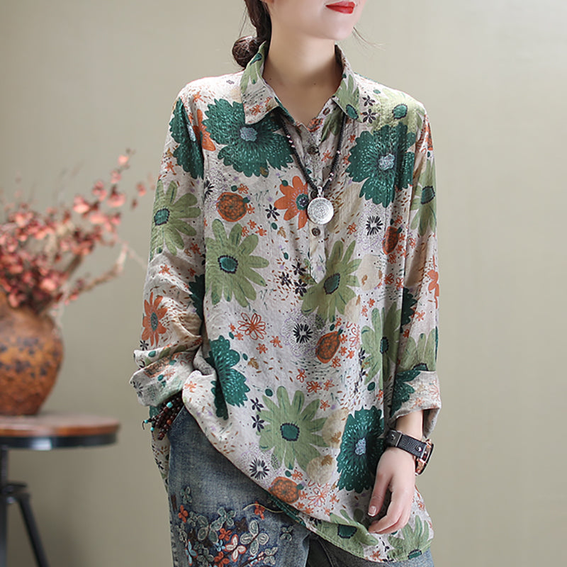 Women Flower Long Sleeve Linen Shirt