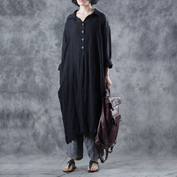 Half-Open Solid Color Hand-Dyed Shirt Dress