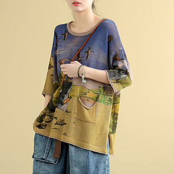 Half Sleeve Cartoon Print Retro Knitted Shirt