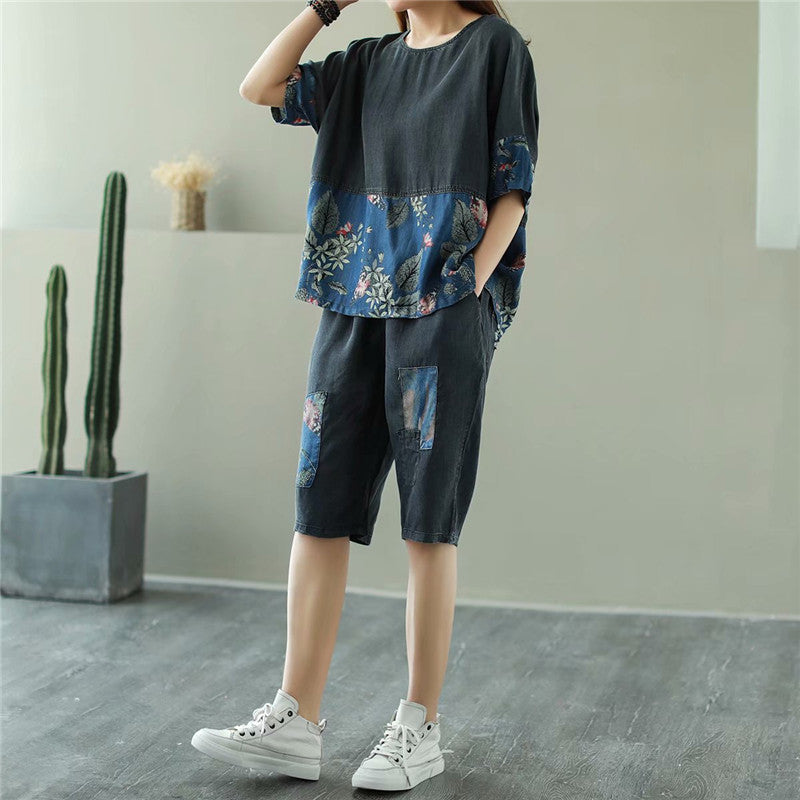 Half Sleeve Denim Splicing Printed T-shirt