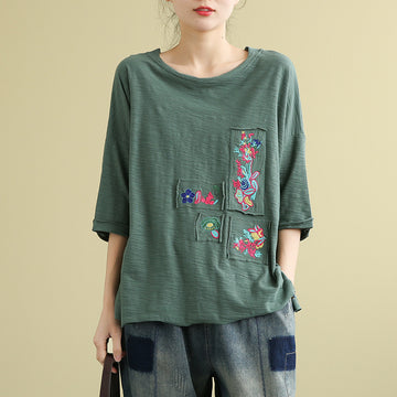 Half Sleeve Embroidery Patchwork Loose Cotton T-shirt