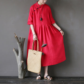 Half Sleeve Hand-made Frog Solid Color Linen Dress