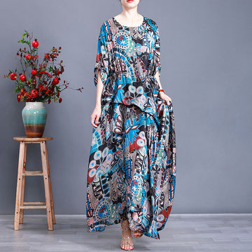Half Sleeve Irregular Fashion Printed Silk Dress