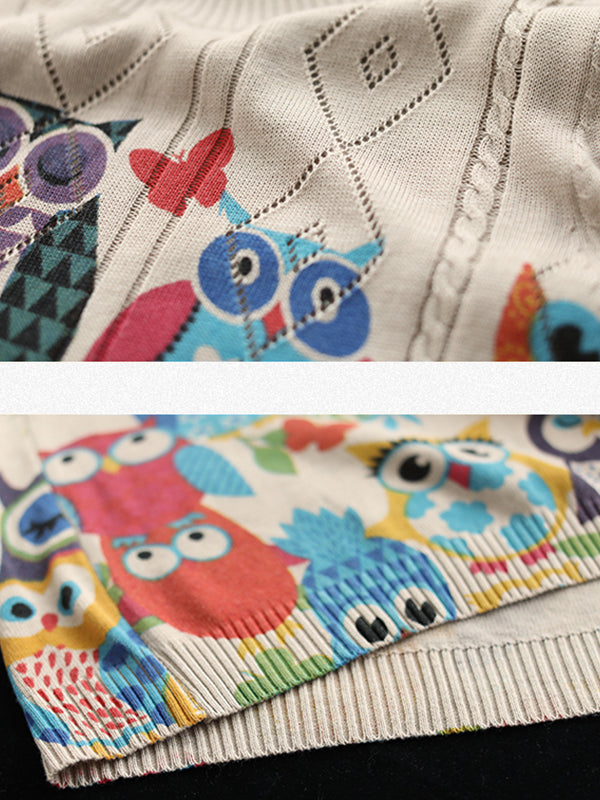 Half Sleeve Owl Printed Threaded Thin Knitted Shirt