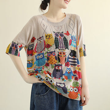 Half Sleeve Owl Printed Threaded Thin Knitted Sweater