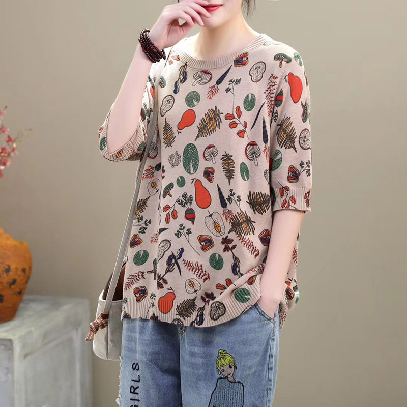 Half Sleeve Printed Cotton Knitted Shirt