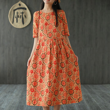 Half Sleeve Printed O-neck Linen Midi Dress