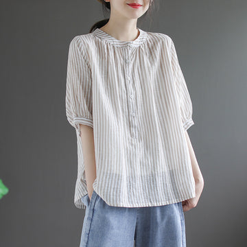 Half Sleeve Stripe Stand Collar Linen Shirt