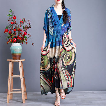 Half Sleeve V-neck Pleated Printed Silk Dress
