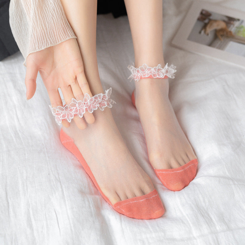 Half Transparent Pure Color Summer Lace Socks (3 Pairs)