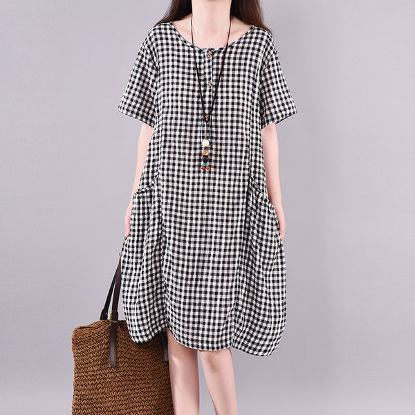 Half Front Opening Plaid Literary Loose Dress