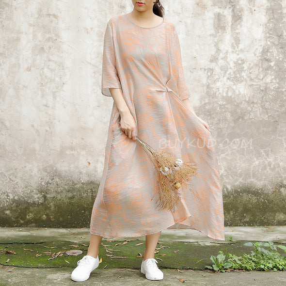 Half Sleeve Pockets Summer Casual Two-piece Long Dress