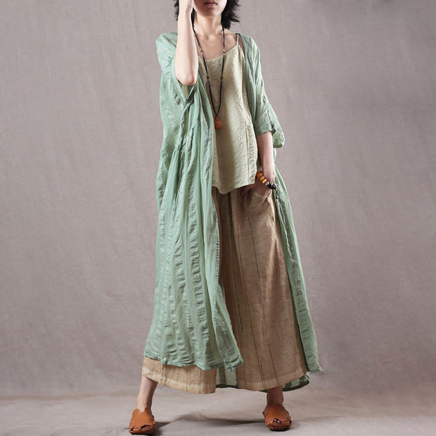 Half Sleeves Stripe Bat Sleeves Casual Cloak