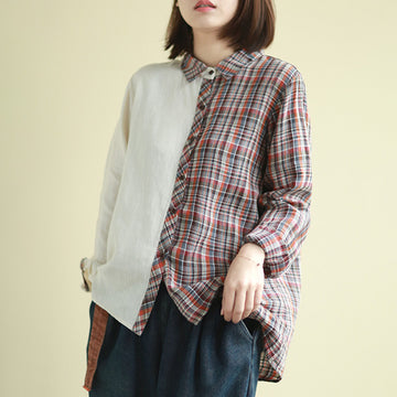 Half Stitching Plaid Stand Collar Shirt