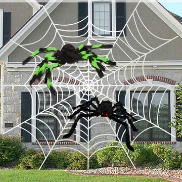 Halloween Black Spider White Spider Web Decoration