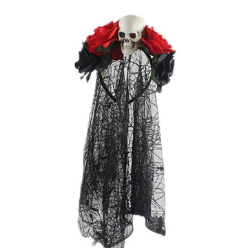 Halloween Skull Rose Black Lace Hair Band(2 Pieces)