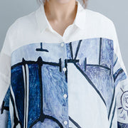 Hand-Painted Printing Ramie Shirt
