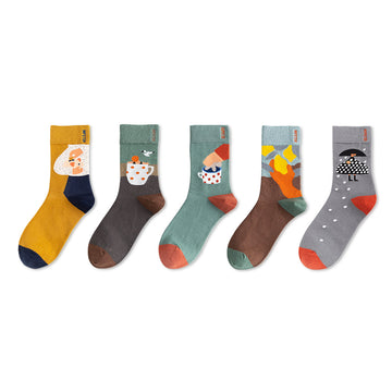 Hand-drawn Cartoon Jacquard Combed Cotton Socks-3 Pairs