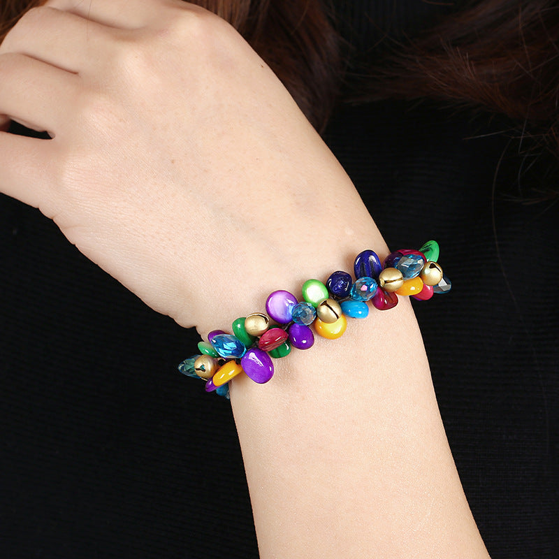 Hand-woven Drop-shaped Bead Bell Bracelet