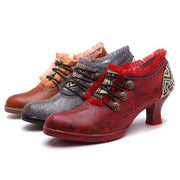 Hand Embossed Splicing Spanish Style Women's Shoes