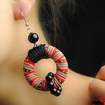 Handmade Embroidery Circle Earrings
