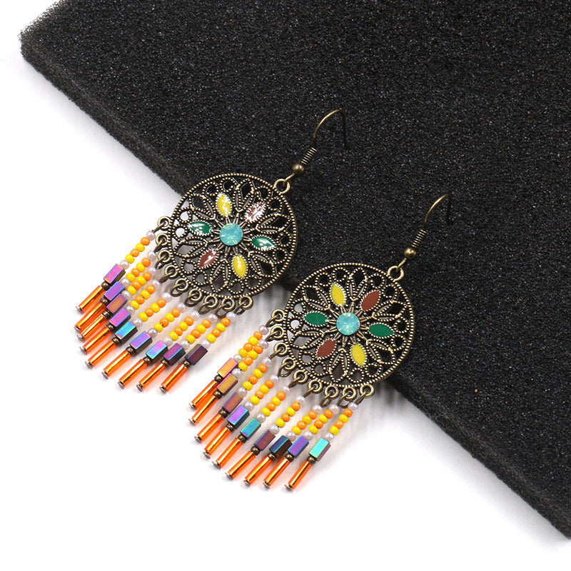 Handmade Hollow Beads Tassel Dangle Earrings