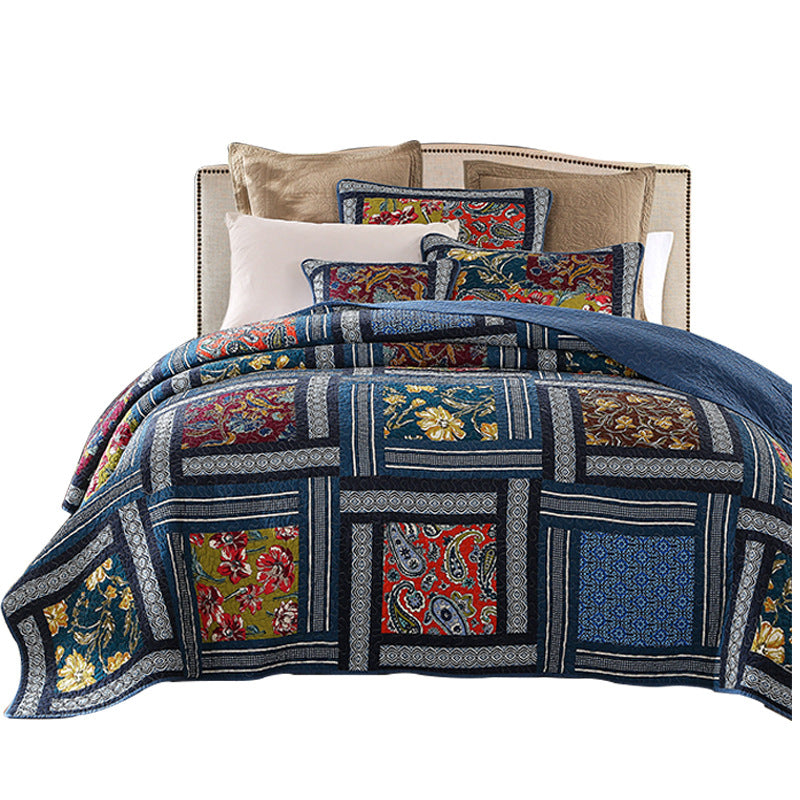 Handmade Seam Printed Cotton Bedding Set (1*Comforter,2*Pillowcase)
