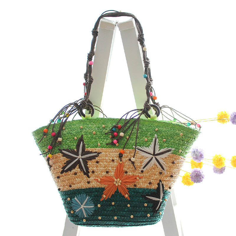 Handmade Starfish Embroidered Straw Shoulder Bag