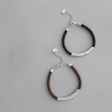 Handmade Woven Leather Rope Splicing Silver Bracelet
