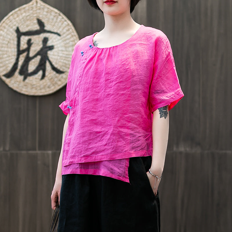 Handmade Buttonhole Loop Solid Color T-Shirt