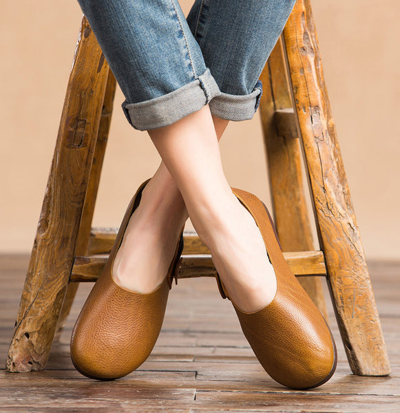 Handmade Leather Soft Bottom Casual Women's Shoes