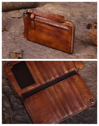 Handmade Long Yellow Brown Leather Wallet