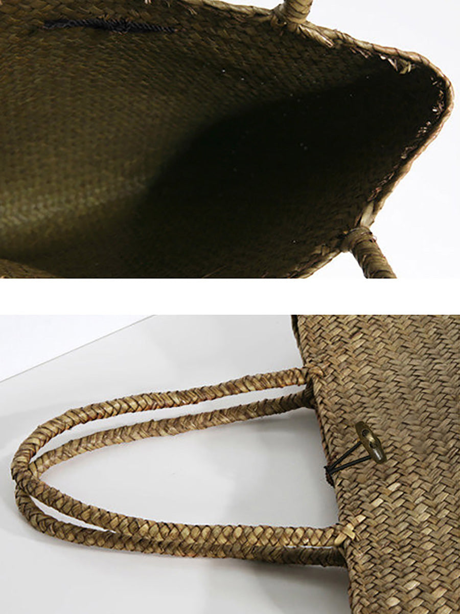 Handmade Portable Straw Bag Beach Shoulder Bag