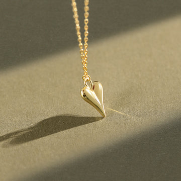 Heart-shaped Pendant Silver Short Necklace