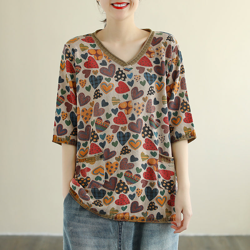 Heart Printed Half Sleeve V-neck Summer Cotton Knitted T-shirt
