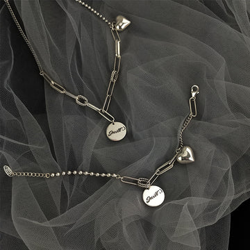 Heart Round Brand Silver Necklace/Bracelet