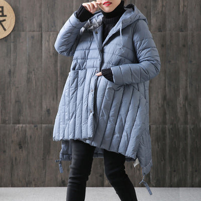 High-low Hem Irregular Split Hoodies Cotton Coat